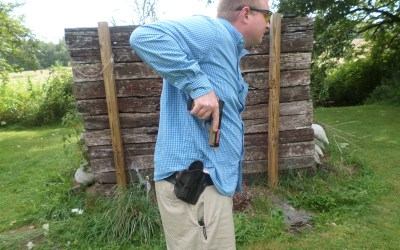 An exaggerated clear of the holster will ensure the pistol is completely free of obstruction.