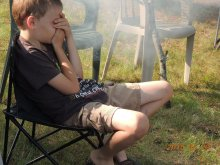 Sitting around the smokey fire.