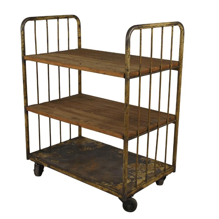 industrial antique rolling rack