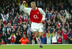 Football - FA Cup - Fourth Round - Arsenal v Middlesbrough - 24/1/04 Dennis Bergkamp - Arsenal celebrates his goal against Middlesbrough Mandatory Credit : Action Images / Alex Morton