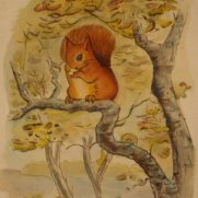 Watercolor of Squirrel in Tree