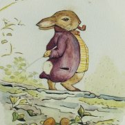 Watercolor of Mr. Bouncer Rabbit