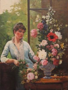 Oil painting of seated woman with a floral arrangement