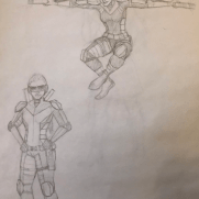 Mick Kaufer, Instructor, Two Superheroes, Age 15, Pencil on Paper