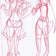 Sara Guneratne, Age 13, Red Pencil Sketchbook Character and Costume Concept Drawing