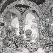 "Marc Johnson-Pencook, Guest Instructor, ""They exited to a vast apartment."", Double Page Book Final Illustration to The Ant Who Did The Impossible, Pen & Ink on Board"
