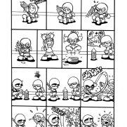 Matt Wendt, Guest Instructor, Baby Ninjas Comic Strip Page, Pen & Ink on Paper
