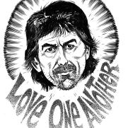 David Witt, Instructor, Famous Last Words - George Harrison, Pen & Ink & Brush on Paper