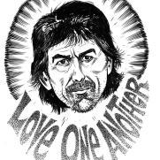 David Witt, Instructor, Famous Last Words - George Harrison, Pen & Ink & Brush on Paper