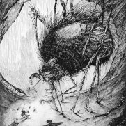 "Marc Johnson-Pencook, Guest Instructor, ""It was a Wolf Spider!"", Illustration to The Ant Who Did The Impossible, Pen & Ink on Board"