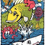 David Witt, Instructor, Jumping Unifish and Friends, Screenprint