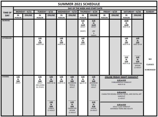Summer 2021 Schedule