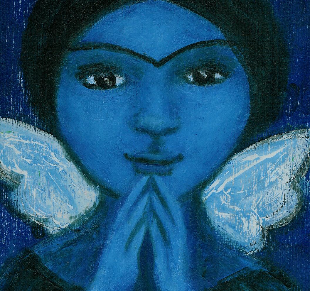 """""""PRAY"""" blue angel painting by outsider artist Bethann Shannon"""