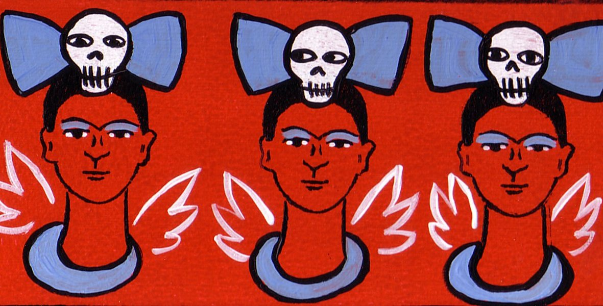 Tres Fridas with large skull bows by Bethann Shannon