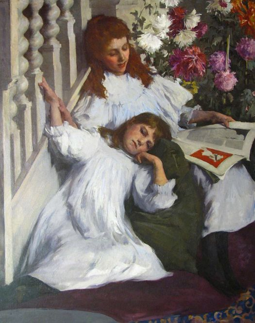 "Image of the painting ""Sisters"" by Elizabeth Adela Forbes."
