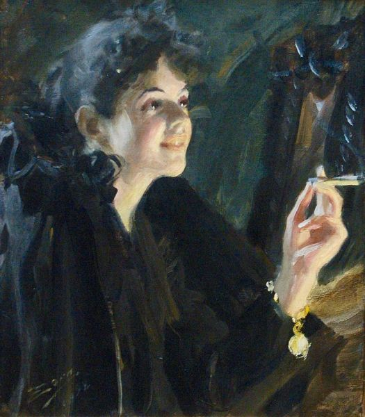 "The painting, ""The Girl With The Cigarette,"" by Anders Zorn."