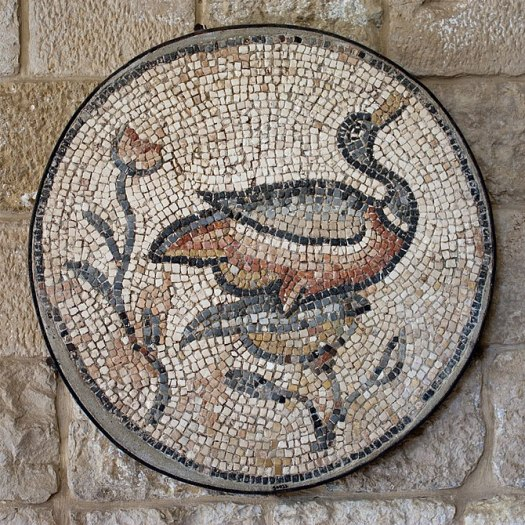 English: Roman mosaic of a mallard in the pala...