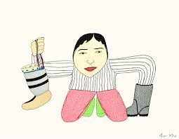 Holding Boots, Crayons, pencil and ink Annie Pootoogook (Power Plant/Fehely Fine Art image)