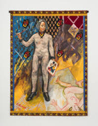 "Work Suit, 1994 Acrylic on linen, with African fabric borders and photo transfer, 74"" x 54"" Image courtesy Ryan Lee Gallery"