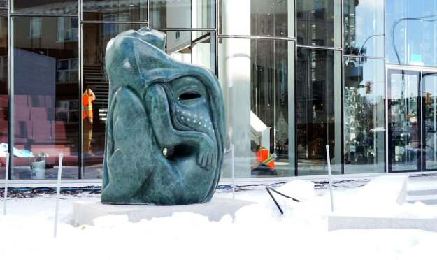 The marble sculpture,Tuniigusiia, by Goota Ashoona, was commissioned by the Manitoba Teachers' Society, wag.ca image