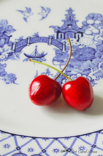 Cherries on willow pattern plate