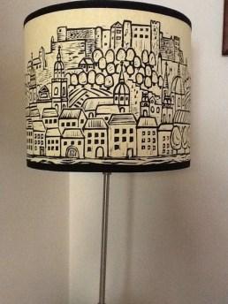 Lino print lamp