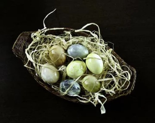 Naturally Dyed Easter Eggs in Nest