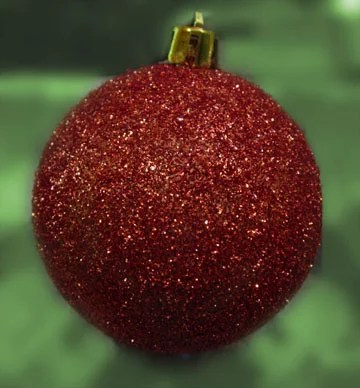 red glitter covered ornament