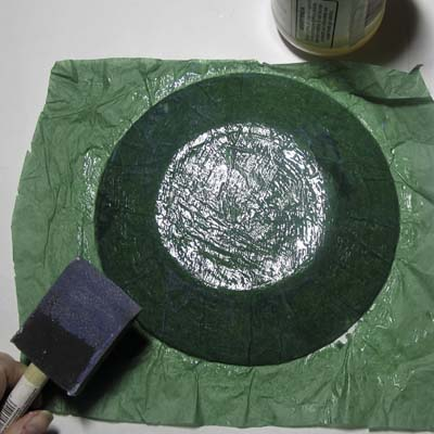 Decoupage Under Glass: Apply Green Tissue Paper to Back