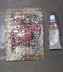 Embossed Aluminum Postcard Art: Laughter Oops Fixed with Rub n Buff