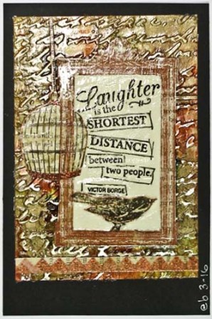Embossed Aluminum Postcard Art: Laughter Assembled