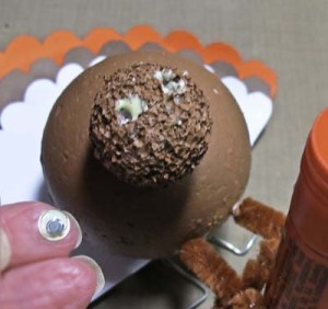 Turkey Place Cards - Form Holes for Eyes and Add Glue; Insert Eyes