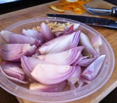 Shallots, Garlic and Orange Peel