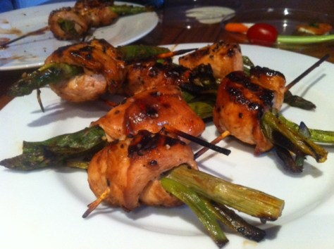 Grilled Teriyaki Chicken Rolls with Asparagus and Scallions