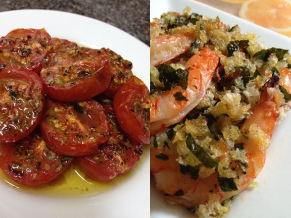 Baked Tomatoes with Oregano / Baked Shrimp with Garlic, Parsley & Crumbs
