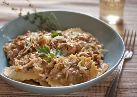 Chicken Marsala Ravioli with Wild Mushrooms, Leeks, Thyme in a Garlic Wine Cream Sauce