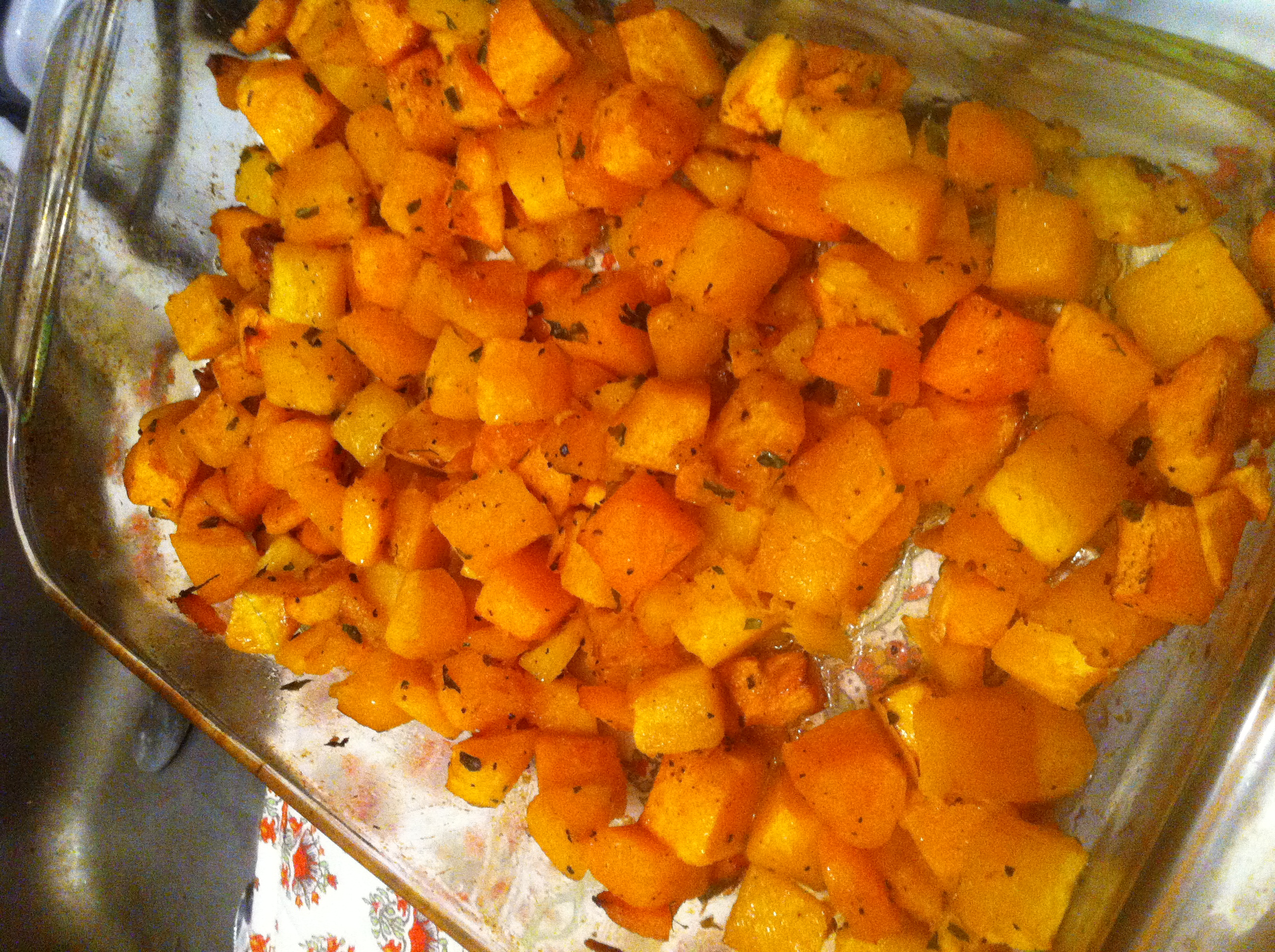Roasted Butternut Squash with Brown Sugar Butter and Herbs