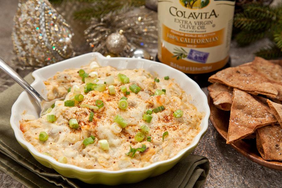 Parmesan Garlic Artichoke Dip w/ Homemade Pita Chips