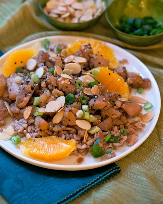 Citrus Honey Soy Chicken with Toasted Almond Farro