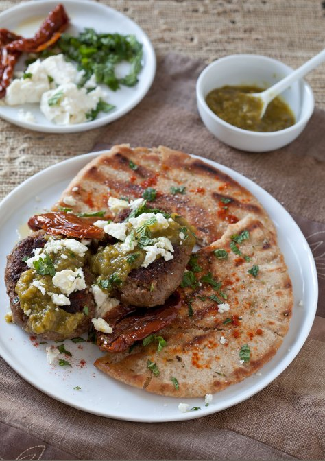 Spiced Moroccan Burgers with Green Harissa, Feta and Mint over Grilled Pita Bread
