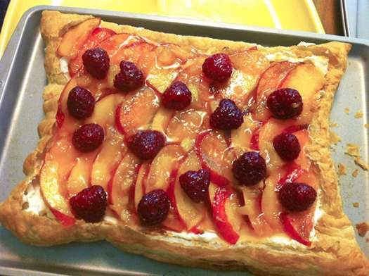 Peach Raspberry Almond Vanilla Cream Tart
