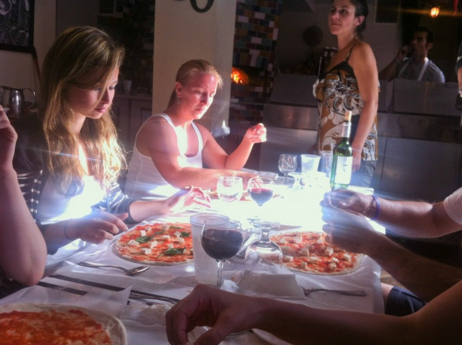 Good Times constructing our pizzas