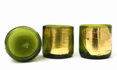 Gold Leaf Wine Bottle Glasses
