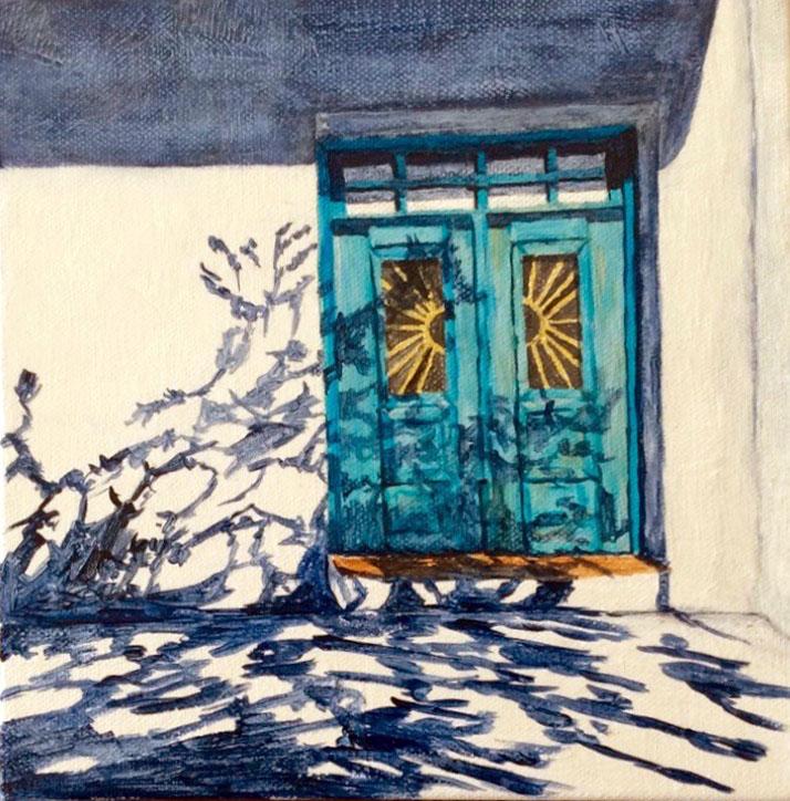 Santorini Shadows 1 by Kathy Nay