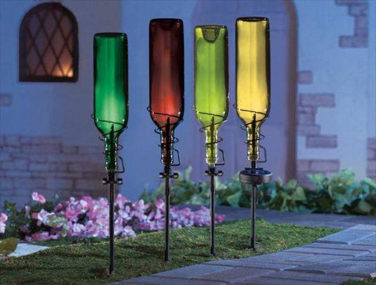 15 Terrific DIY Glass Bottle Yard Decor That Will Impress ... on Diy Garden Decor  id=54876