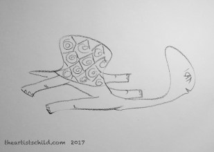 Completed Drawing: Tortoise with Hangover