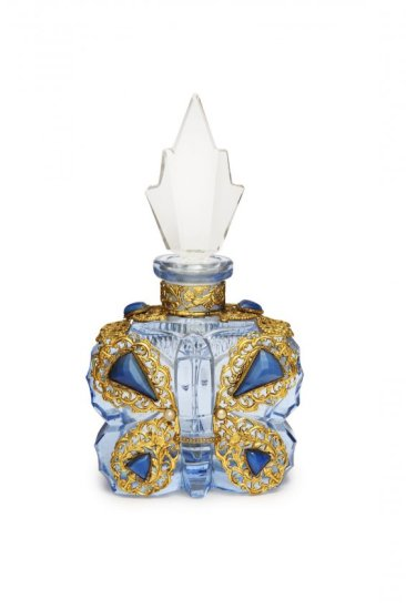 1930s Morlee- Czechoslovakian figural butterfly perfume bottle, light blue crystal, jeweled gilt filigree