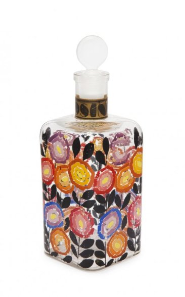 1920s Rosine La Veritable Eau de Cologne, clear glass bottle and stopper, hand decorated by Paul Poiret's Martine workshop