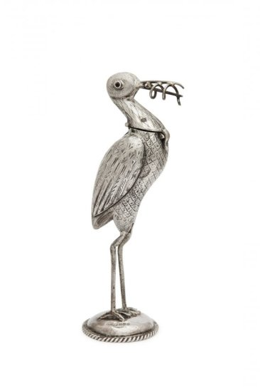 C1900 Dutch Silver Scent Bottle As A Stork