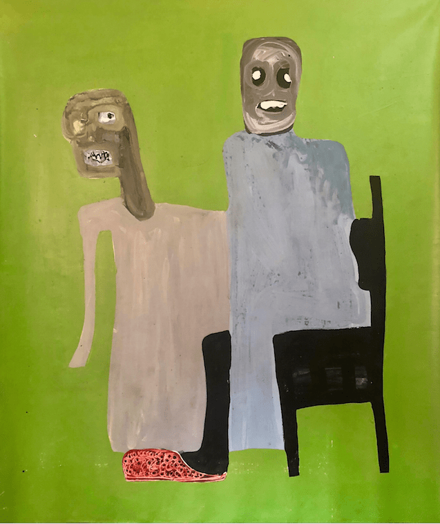 "Amadou Sanogo, ""Les étonnés"", 2018, Acrylic on canvas, 145x169cm. Courtesy of the artist and Retro Africa."